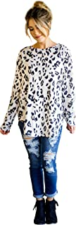 Women's Long Sleeve Leopard Knit Casual Loose Sweater...