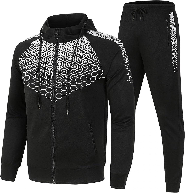 KEEYO Mens Casual Tracksuit Long Sleeve Zip Up Hoodies Jackets Sweatpants Running Jogging Sports Athletic Sweat Suits