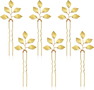 6 Packs Bride Gold Leaf Hair Pins, Vintage Leaves Hair Clip for Wedding Hair Pins, Bride and Bridesmaid Hairstyle Accessories
