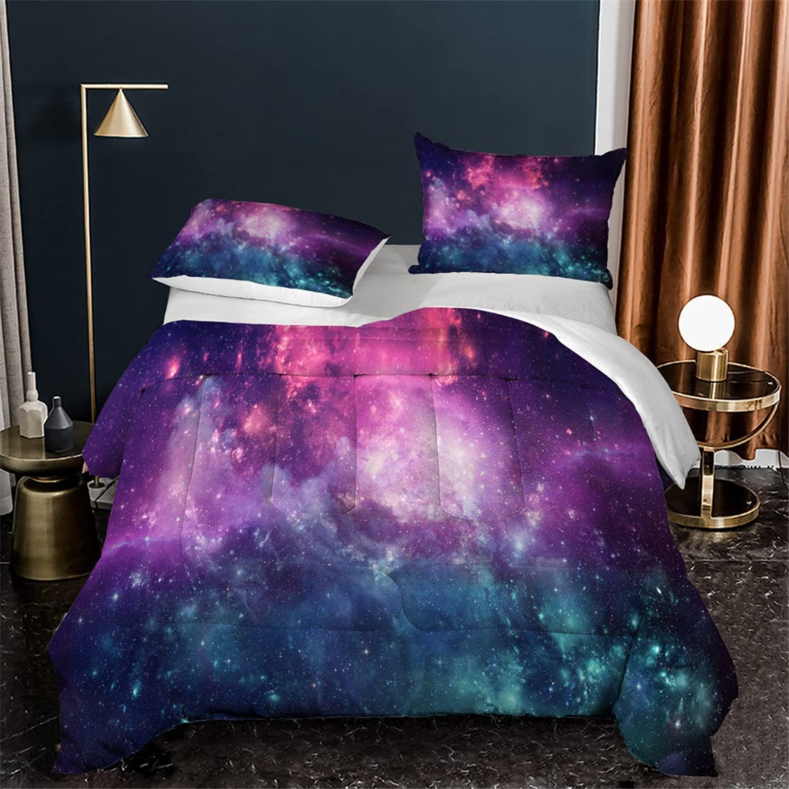 HMT NF 3D Galaxy Starry Sky Comforter Purple Discount mail order Size Set King Ranking TOP5 Blue