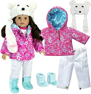 Sophia's Complete 18 Inch Doll Winter Outfit Set with Polar Bear Hat, Floral Print Parka, Snowboard Pants and Aqua Fur Boots. Fits American Girl Dolls & More! Doll Clothes Polar Bear Set