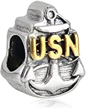 United States Military Anchor 925 Sterling Silver US Navy Bead Fits European Brand Charms Jewelry
