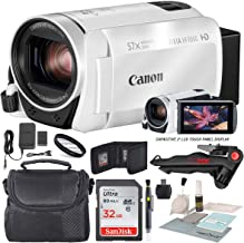 Canon Vixia HF R800 HD Camcorder (White) Bundle W/ 32GB SD Card, Camcorder Case, Cleaning Accessories and Fibertique Cleaning Cloth