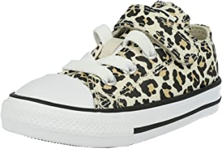Converse Chuck Taylor All Star 1V Leopard Print Ox Black/Driftwood/Light Fawn Canvas Baby Trainers Shoes