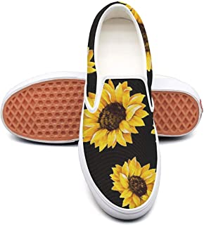 Cute Sunflower Classic Canvas shoes Slip On Skate Sneakers women's Fashion Print cool Durable shoe