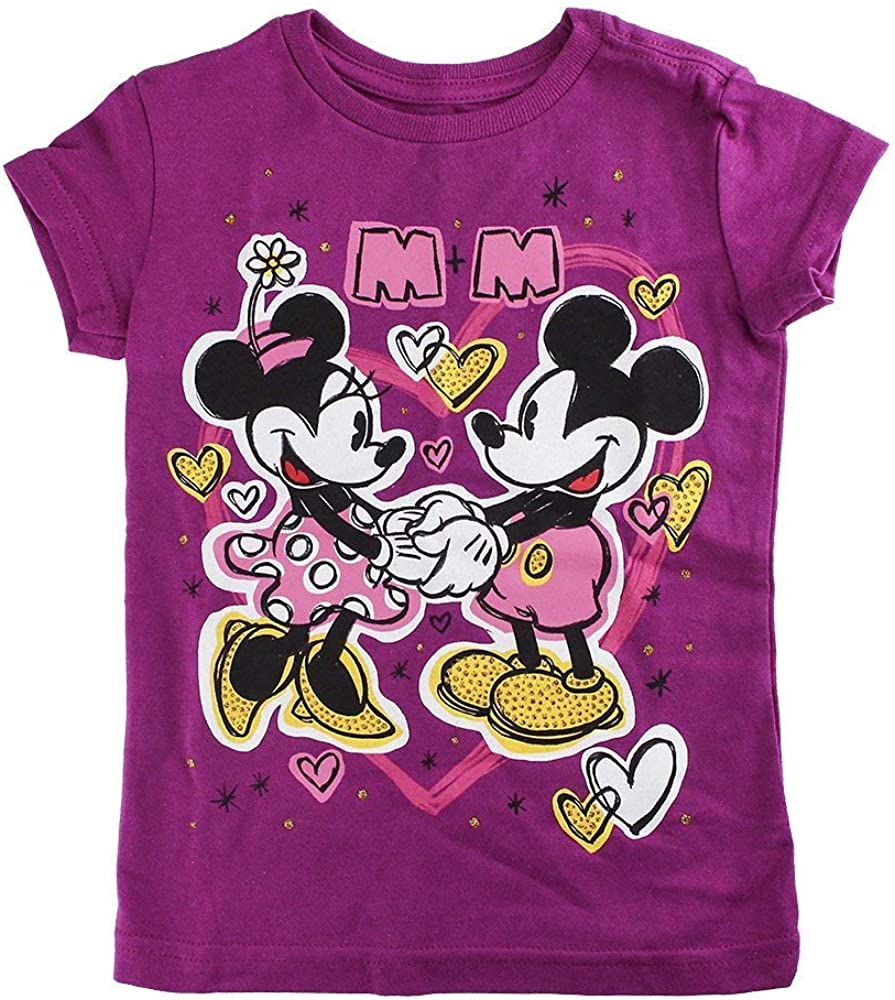 Disney Store Girls Mickey & Minnie Mouse M+M Hearts of Gold T-Shirt, Purple