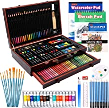 186 Piece Deluxe Art Set, Shuttle Art Art Supplies in Wooden Case, Painting Drawing Art Kit with Acrylic Paint Pencils Oil...
