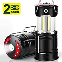 EZORKAS 2 Pack Camping Lanterns, Rechargeable Led Lanterns, Hurricane Lights with Flashlight and Magnet Base for Camping, Hurricane, Hiking, Emergency, Outage