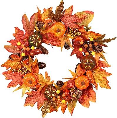 Fall Wreaths Maple Leaf Pumpkin Christmas Thanksgiving Garland Front Door Decor