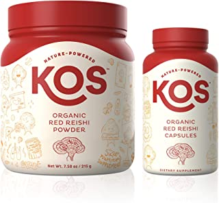 KOS Organic Red Reishi Powder + Organic Red Reishi Capsules Bundle