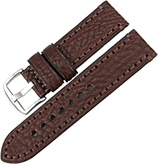 MAIKES Watch Band, Genuine Leather Watch Strap 20mm 22mm 24mm 26mm with Stainless Steel Buckle Watchband (Band Width 24mm, Light Brown+Silver Buckle)