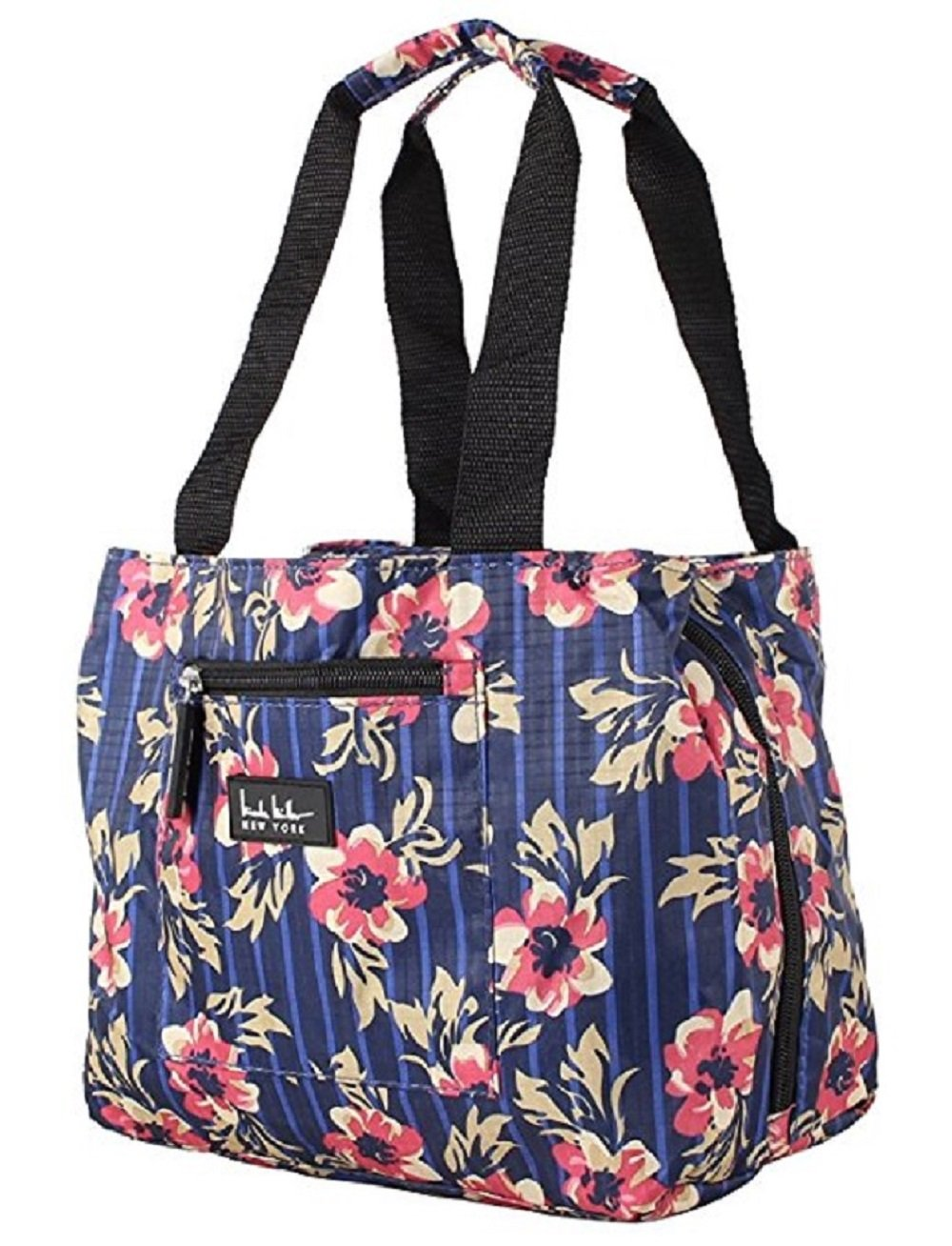 Nicole Miller of New York Insulated 11 Floral Lunch Tote- Flower Navy