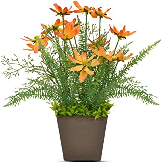 Luxsego Artificial Coreopsis Flowers with Pot, 14.7 Inch Outdoor UV Resistant Plants, Artificial Fake Silk Flowers for House Decorations, Lobby, Bathroom, Wedding, Office, Indoor and Outdoor (Orange)