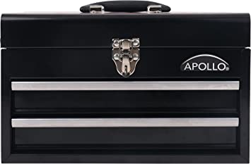 APOLLO TOOLS Black Metal Tool Box with Deep Top Compartment and 2 Drawers in Heavy-Duty Steel Chest With Ball Bearing Opening And Powder Coated Finish - DT5010: image