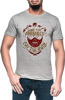 Save The Animals, Eat The Rude Hombre Gris Camiseta Manga Corta Men's Grey T-Shirt