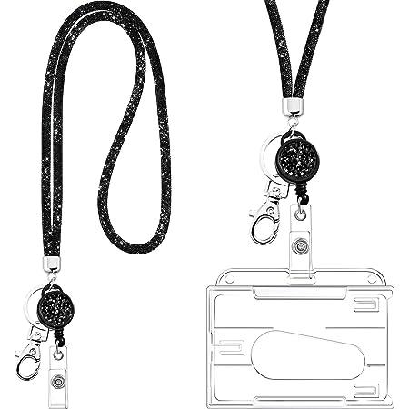 Lanière Collier en Cristal avec Porte-Carte d'Identité Transparent et Porte-Clés, Lanière en Cristal Strass Bling Porte-Badges Transparents et Tour de Cou pour Badge d'Identification (Noir)