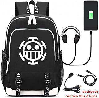 One Piece Backpack Student Bag Backpack Casual Daypack with USB Charging Port Earphone Jack can accommodate a 14-inches Laptop Computer Cool Girls Boys Teens Outdoor Backpack