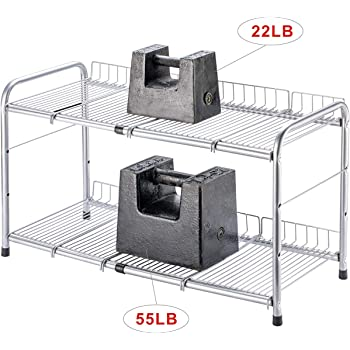 Flagship Under Sink Organizer Storage 2 Tier Expandable Cabinet Shelf Rack for Kitchen Bathroom Silver (17-25 inches)