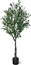 CROSOFMI Artificial Olive Tree Plants 4.9 Feet Fake Topiary Silk Tree Faux Plant for Indoor Outdoor Artificial Tree in Pot...