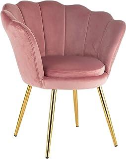 Fauteuil rembourré avec dossier en velours poudre, avec pieds en or, fauteuil de salon et chambre à coucher, super confort...