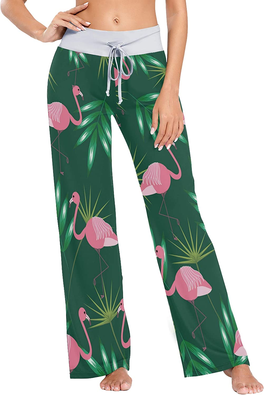 UWSG Women's Pajama Pants Leggings,High Waist Palazzo Drawstring