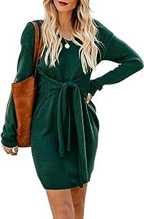 Bdcoco Women's Knitted V Neck Sweater Dresses Wrap Bodycon Tie Waist Short Dresses