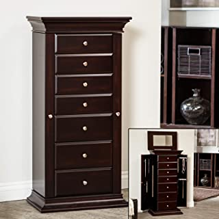 Home Collection Traditional Freestanding Dark Espresso Brown Wood Jewelry Armoire Tall Cabinet Storage Jewelry Box