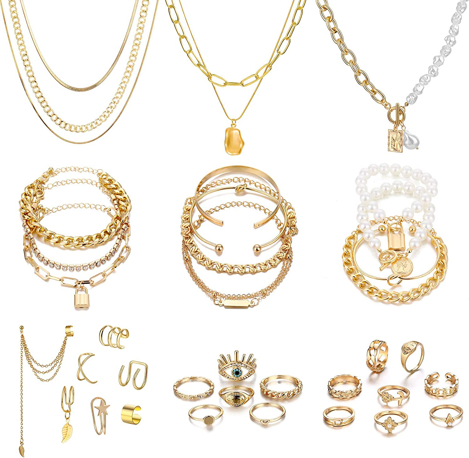 IFKM 36 PCS Gold Plated Jewelry Set with 4 PCS Necklace, 11 PCS Bracelet, 7 PCS Ear Cuffs Earring, 14 Pcs Knuckle Rings for Women Girls Valentine Anniversary Birthday Friendship Gift