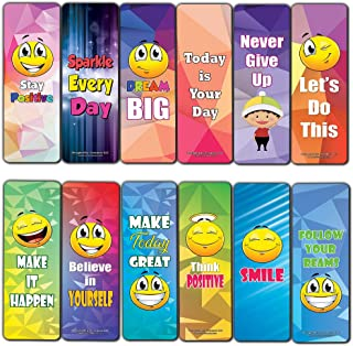 Creanoso Positive Sayings Emoji Bookmarks (12-Pack) – Class Incentive Reading Bookmarker Cards - Stocking Stuffers Gift for Kids, Children, Boys & Girls – Teacher and Classroom Rewards – School Gifts