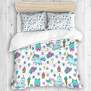 COVASA Duvet Cover Set, Unicorn Cat Girls Pattern with Hearts Stars Flowers Ice Cream Cute Funny, Decorative 3 Piece Bedding Set with 2 Pillow Shams