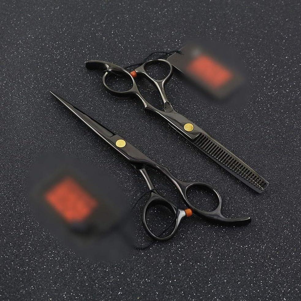 トリム撤回するサドルDANHCHUN 6.0インチ黒はさみ、平はさみ+歯せん断理髪はさみツールセットサロンまたは家庭用 (色 : 黒)