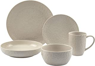 Tabletops Gallery Fashion Dinnerware Collection- Embossed Stoneware Dishes Service for 4 Dinner Salad Appitizer Dessert Pl...