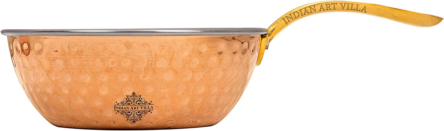 Popular products OFFicial IndianArtVilla Steel Copper Hammered Serving Pan Brass with Hand