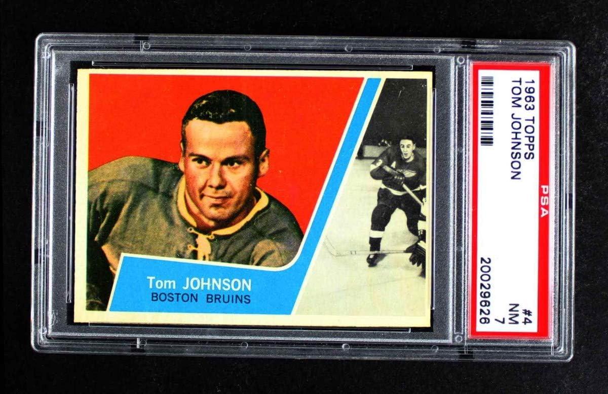 1963 Topps # 4 Tom Johnson Boston Clearance SALE Minneapolis Mall Limited time Card Hockey Bruins 7 PSA
