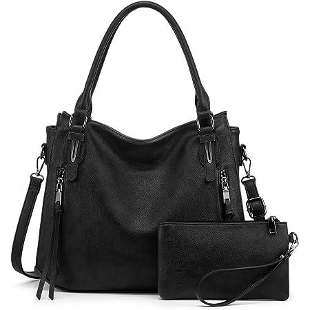 Realer Damen Handtaschen Groß Shopper Lederhandtasche Schultertasche Umhängetasche Geldbörse Hobo Damen Taschen Set 2pcs Schwarz