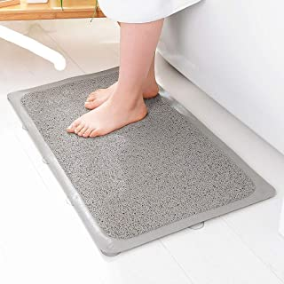 New Linear Bath Mat for Machine Wash, Antibacterial, Phthalate-Free, Non-Slip Bath Mat with Drain Hole and Suction Cup, Size 43cm 75cm Bathroom Mat (Gray and White) (Color : B, Size : 43cm75cm)