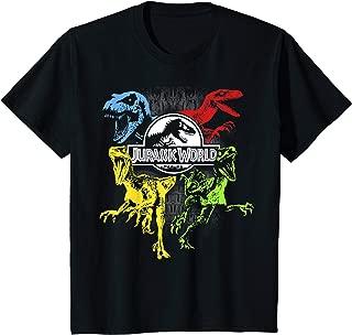Kids Jurassic World Primary Color Raptors & T-Rex Graphic T-Shirt
