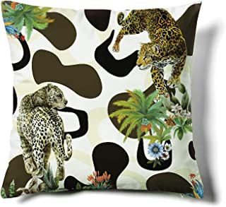 Happy Memories Decor Throw Pillow Cushion Cover, Classic Cashew Floral,Double Leopard,Floral Inspired Design and Cactus, Decorative Square Accent Pillow Case (White Background Double Leopard) 1PCS