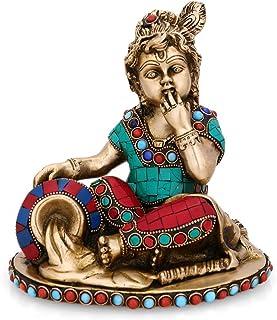 Baby Krishna Brass Idol Butter Thief Krishna Statue-Kanhiya Brass Idols-Makhan Bal Krishna Idol