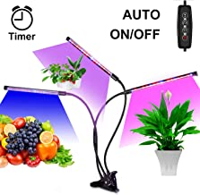 Led Grow Lamps for Indoor Plants, Auto ON & Off with 3/6/12H Timer Plant Grow Light - Red, Blue Spectrum - 3 Head Divide Control - 5 Dimmable Levels - USB Charger - Adjustable Gooseneck