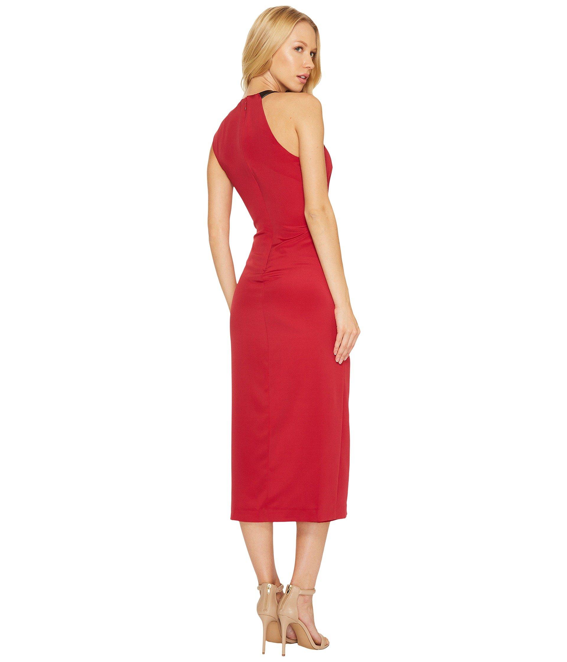 NICOLE MILLER SILK RUCHED DRESS W/ HIGH SLIT, CRIMSON RED   ModeSens