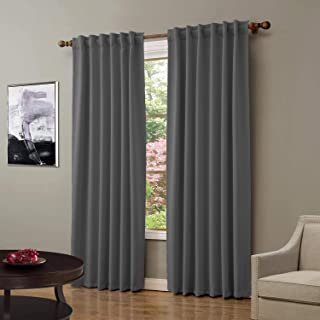 ChadMade Back Tab/Rod Pocket Grey 52Wx63L Inch (Set of 2 Panels) Solid Thermal Insulated..