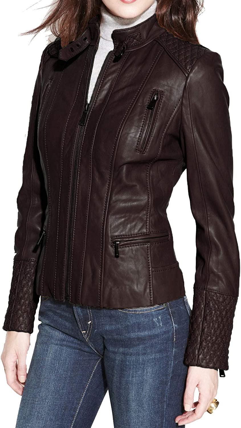Alishbah Women's Leather Jacket Stylish Motorcycle Biker Genuine Lambskin WJ323