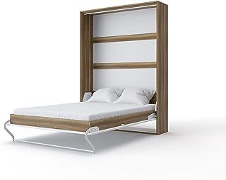 Invento – Cama plegable de pared con forma de V, armario de pared, cama con función vertical, armario plegable con cama plegable integrada, habitación de invitados, salón, dormitorio, 140 x 200 cm