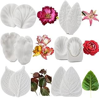 6set Gumpaste Flower and Leaf Silicone Veining Mold Sugarcraft Fondant Flower Making Tools for Wedding Cake Decorating,Chocolate, Sugar,Soap,Gum paste