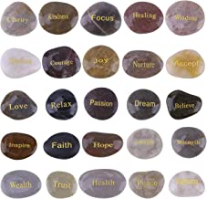 Cyanbamboo Engraved Inspirational Gift Stones Words Natural Stones Lettering for Prayer Faith Meditation (25 Different Words 1.5-3 inches)- Worry Stones Party Rocks with Sayings Positive Motivational
