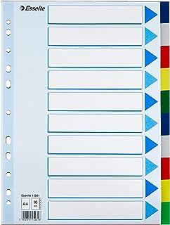 Esselte Intercalaires A4 10 Touches, Multicolore, Onglets Renforcés en Plastique Résistant avec Table des Matières, 15261