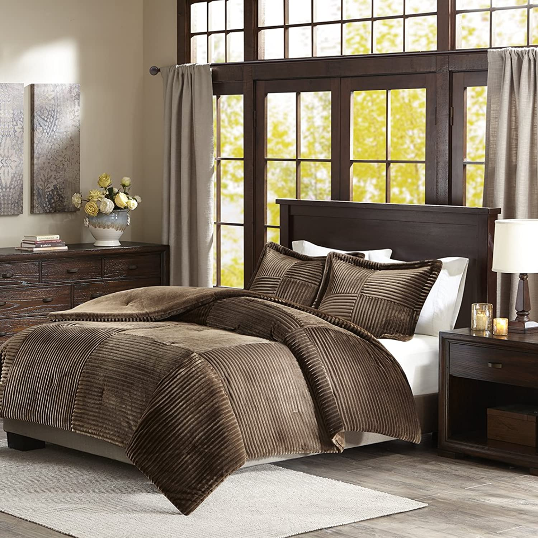 Parker Corduroy Plush Comforter Mini Set Brown Full Queen