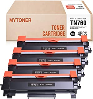 Mytoner 4PK TN-760 with CHIP Compatible for Brother TN760 TN730 High Yield Toner Cartridge - Brother HL-L2395DW HL-L2350DW MFC-L2710DW MFC-L2730DW MFC-L2750DW HL-L2390DW HL-L2370DW DCP-L2550DW Printer