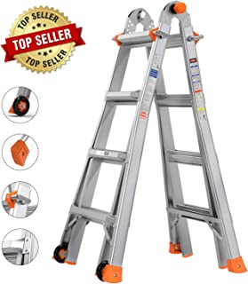 TACKLIFE Extension Ladder, Multi-Use Ladder, 17 Feet Aluminum Telescoping Ladder with 2 Flexible Wheels, Safe Protective Switch, Non-Slip Rubber Feet, 300lb Capacity - LD01A